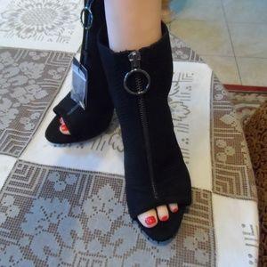 New Zara Black Textured Scuba Sling Back Heels 7.5